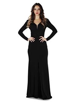 Carmen Ithal Krep Uzun Kollu Abiye Elbise